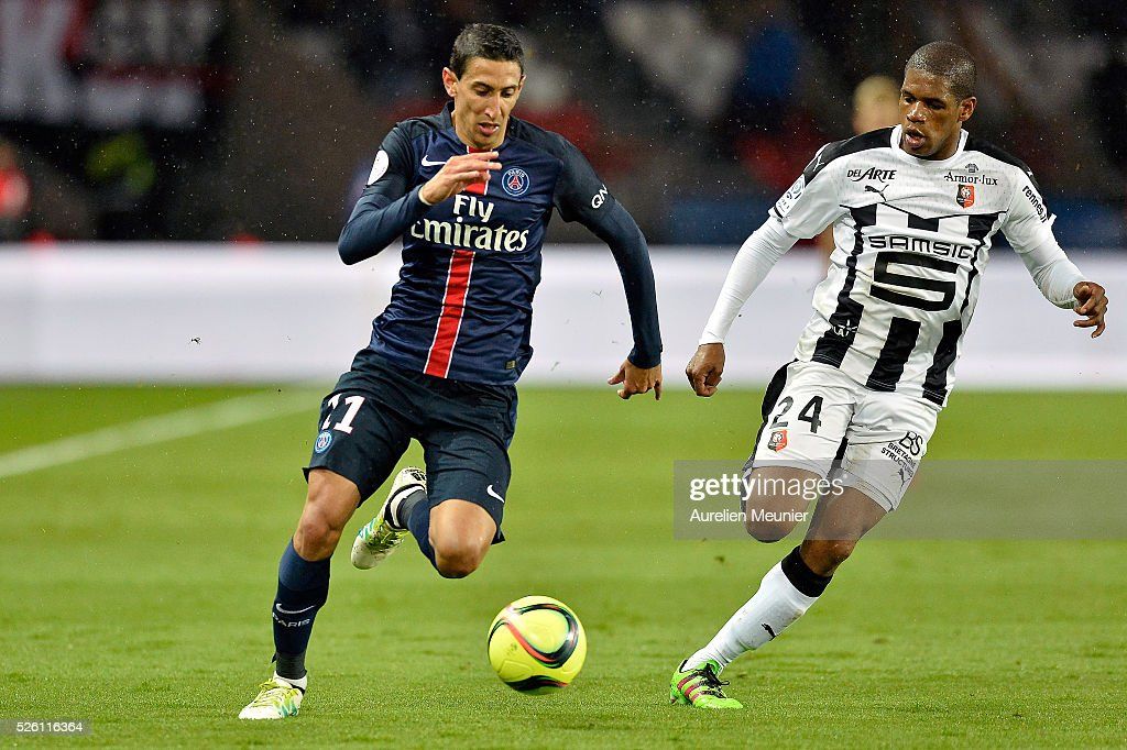 <a gi-track='captionPersonalityLinkClicked' href=/galleries/search?phrase=Angel+Di+Maria&family=editorial&specificpeople=4110691 ng-click='$event.stopPropagation()'>Angel Di Maria</a> of Paris Saint-Germain runs with the ball during the Ligue 1 match between Paris Saint-Germain and Stade Rennais at Parc des Princes on April 29, 2016 in Paris, France.