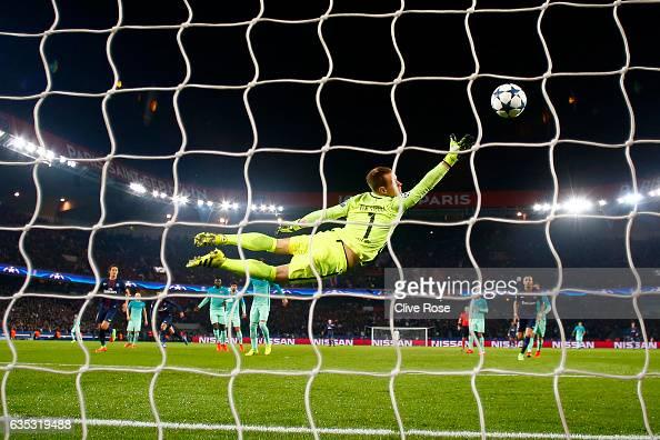 Angel Di Maria of Paris SaintGermain scores his team's third goal past MarcAndre ter Stegen of Barcelona during the UEFA Champions League Round of 16...