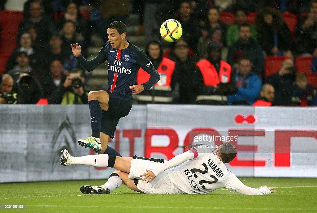 <a gi-track='captionPersonalityLinkClicked' href=/galleries/search?phrase=Angel+Di+Maria&family=editorial&specificpeople=4110691 ng-click='$event.stopPropagation()'>Angel Di Maria</a> of PSG and Sylvain Armand of Rennes in action during the French Ligue 1 match between Paris Saint-Germain (PSG) and Stade Rennais FC at Parc des Princes stadium on April 29, 2016 in Paris, France.