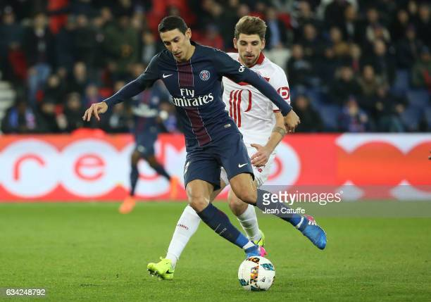 Angel Di Maria of PSG and Xeka of Lille in action during the French Ligue 1 match between Paris SaintGermain and Lille OSC at Parc des Princes...