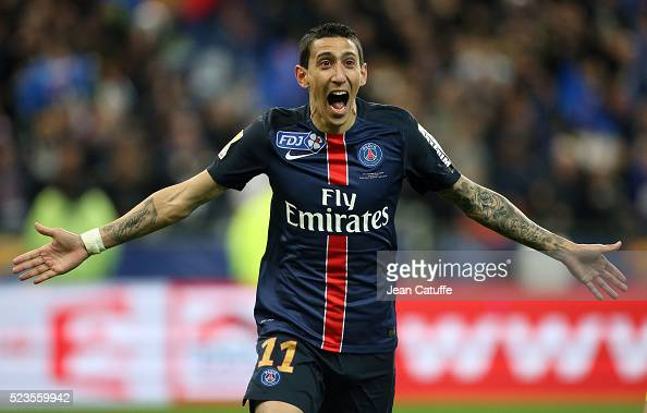 Angel Di Maria of PSG celebrates his goal during the French League Cup final between Paris SaintGermain and Lille OSC at Stade de France on April 23...