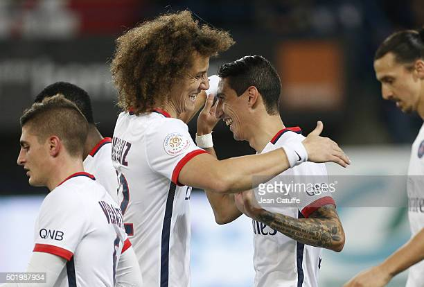 Angel Di Maria of PSG celebrates his goal with David Luiz of PSG during the French Ligue 1 match between Stade Malherbe de Caen and Paris...