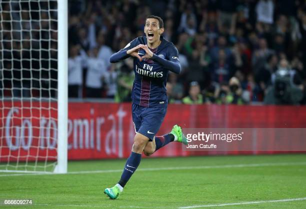 Angel Di Maria of PSG celebrates scoring a goal during the French Ligue 1 match between Paris SaintGermain and En Avant Guingamp at Parc des Princes...