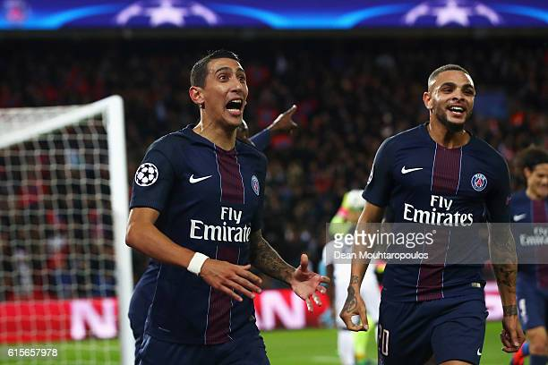 Angel Di Maria of PSG celebrates scoring his teams first goal of the game during the Group A UEFA Champions League match between Paris SaintGermain...