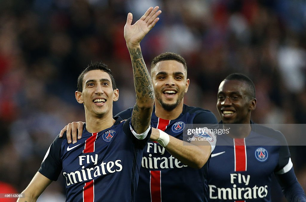 Angel Di Maria of PSG celebrates scoring the first goal with <a gi-track='captionPersonalityLinkClicked' href=/galleries/search?phrase=Layvin+Kurzawa&family=editorial&specificpeople=7204350 ng-click='$event.stopPropagation()'>Layvin Kurzawa</a> and <a gi-track='captionPersonalityLinkClicked' href=/galleries/search?phrase=Blaise+Matuidi&family=editorial&specificpeople=801779 ng-click='$event.stopPropagation()'>Blaise Matuidi</a> of PSG during the French Ligue 1 match between Paris Saint-Germain (PSG) and Toulouse FC (TFC) at Parc des Princes stadium on November 7, 2015 in Paris, France.