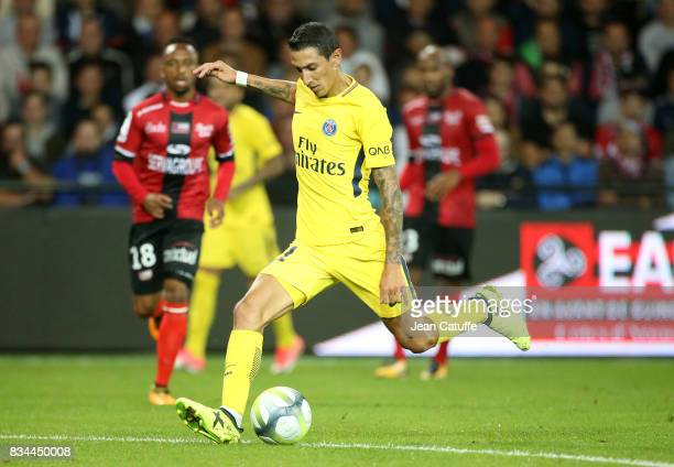 Angel Di Maria of PSG during the French Ligue 1 match between En Avant Guingamp and Paris Saint Germain at Stade de Roudourou on August 13 2017 in...