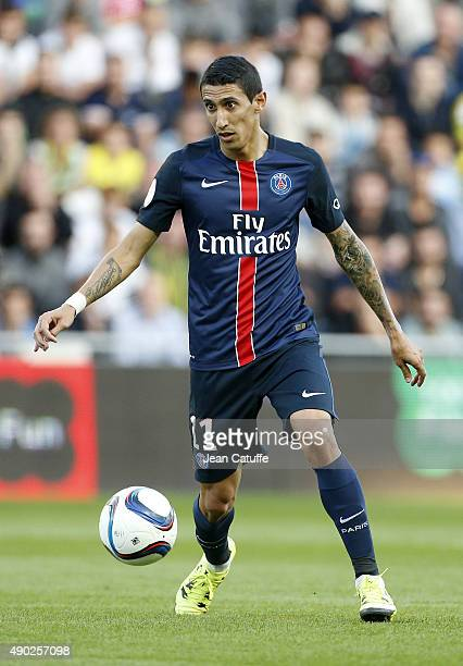 Angel Di Maria of PSG in action during the French Ligue 1 match between FC Nantes and Paris SaintGermain at Stade de la Beaujoire on September 26...