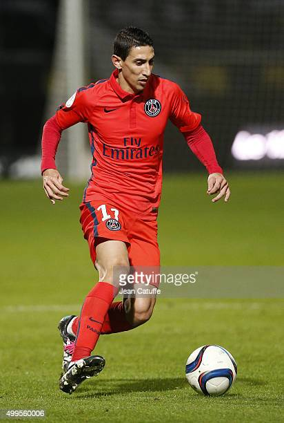 Angel Di Maria of PSG in action during the French Ligue 1 match between Angers SCO and Paris SaintGermain at Stade Jean Bouin on December 1 2015 in...