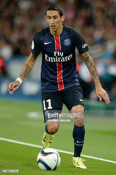 Angel Di Maria of PSG in action during the Ligue 1 game between Paris Saint Germain and Girondins de Bordeaux at Parc des Princes on September 11...