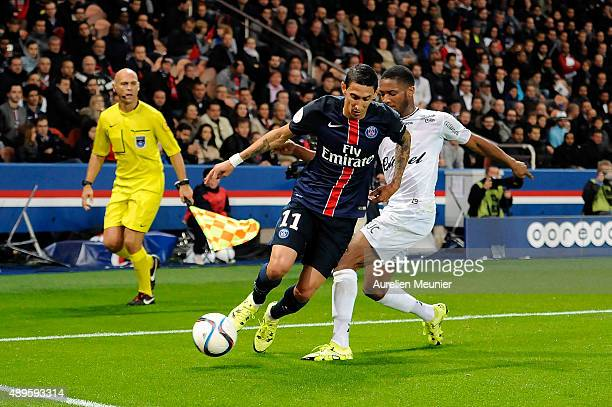 Angel Di Maria of PSG in action during the Ligue 1 game between Paris SaintGermain and EA Guingamp at Parc des Princes on September 22 2015 in Paris...