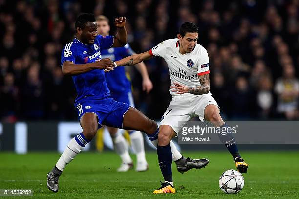 Angel Di Maria of PSG is challenged by John Mikel Obi of Chelsea during the UEFA Champions League round of 16 second leg match between Chelsea and...