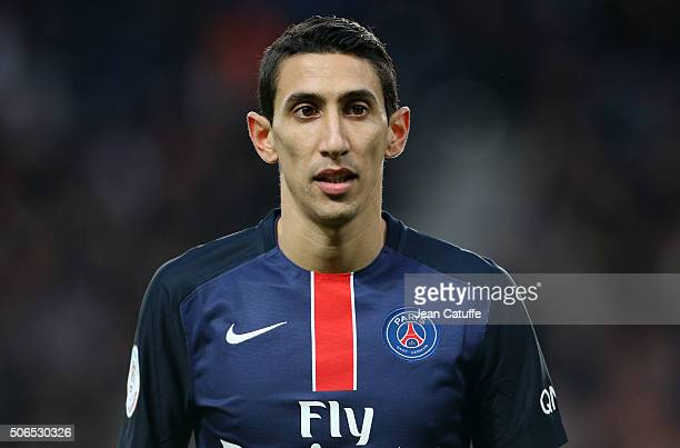 Angel Di Maria of PSG looks on during the French Ligue 1 match between Paris SaintGermain and SCO Angers at Parc des Princes stadium on January 23...