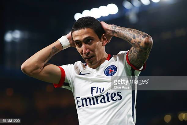 Angel Di Maria of PSG reacts after a missed chance on goal during the UEFA Champions League round of 16 second leg match between Chelsea and Paris...