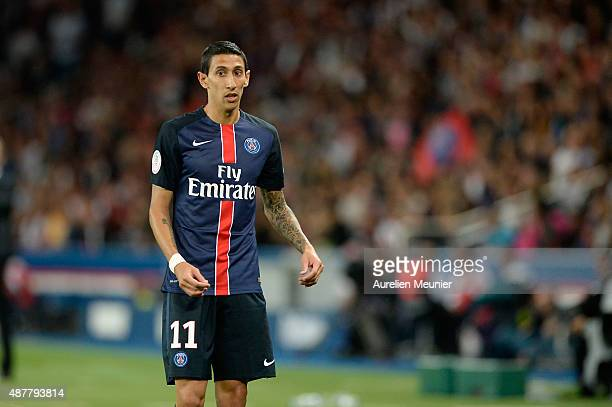 Angel Di Maria of PSG reacts during the Ligue 1 game between Paris Saint Germain and Girondins de Bordeaux at Parc des Princes on September 11 2015...