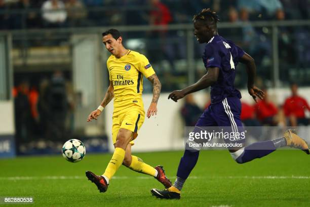 Angel Di Maria of PSG scores his sides fourth goal during the UEFA Champions League group B match between RSC Anderlecht and Paris SaintGermain at...
