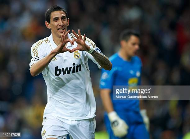 Angel Di Maria of Real Madrid celebrates after scoring during the UEFA Champions League quarterfinal second leg match between Real Madrid and APOEL...