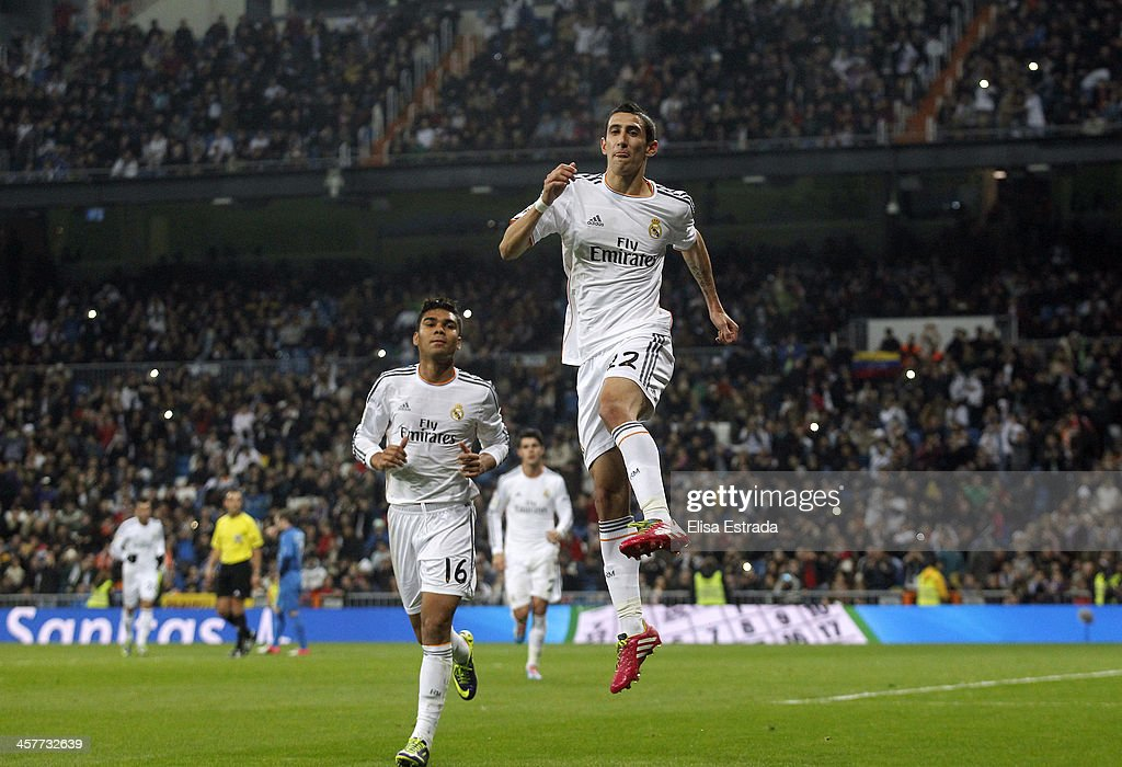Angel di Maria of Real Madrid celebrates after scoring during the Copa del Rey, round of 32 match between Real Madrid and Olimpic de Xativa at Estadio Santiago Bernabeu on December 18, 2013 in Madrid, Spain.