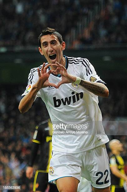 Angel Di Maria of Real Madrid CF celebrates scoring their second goal during the La Liga match between Real Madrid CF and Real Zaragoza at Estadio...