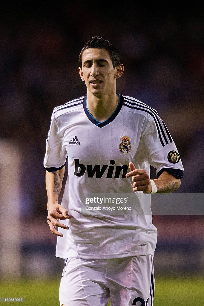 <a gi-track='captionPersonalityLinkClicked' href=/galleries/search?phrase=Angel+Di+Maria&family=editorial&specificpeople=4110691 ng-click='$event.stopPropagation()'>Angel Di Maria</a> of Real Madrid CF reacts after being sent off during the La Liga match between RC Deportivo La Coruna and Real Madrid CF at Riazor Stadium on February 23, 2013 in La Coruna, Spain.