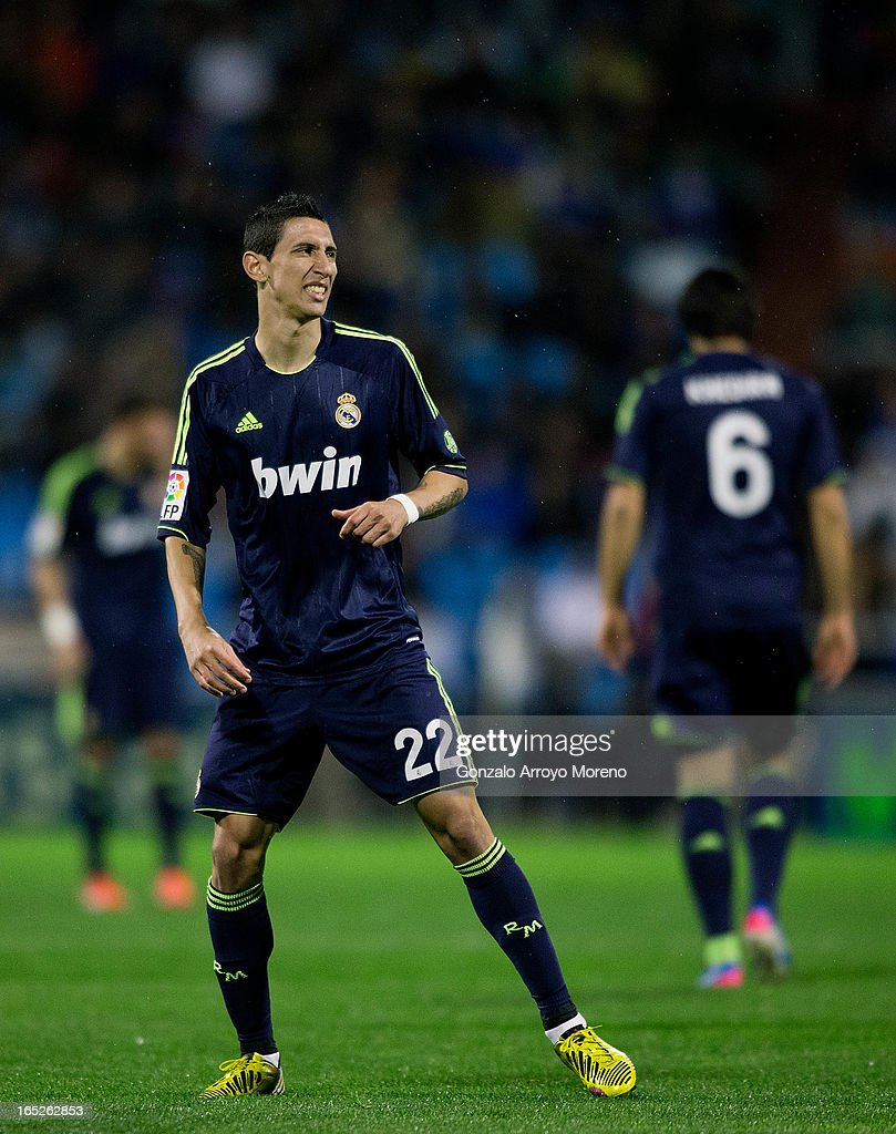 <a gi-track='captionPersonalityLinkClicked' href=/galleries/search?phrase=Angel+Di+Maria&family=editorial&specificpeople=4110691 ng-click='$event.stopPropagation()'>Angel Di Maria</a> of Real Madrid CF reacts defeated after failing a shot to the goal during the La Liga match between Real Zaragoza and Real Madrid CF at La Romareda Stadium on March 30, 2013 in Zaragoza, Spain.
