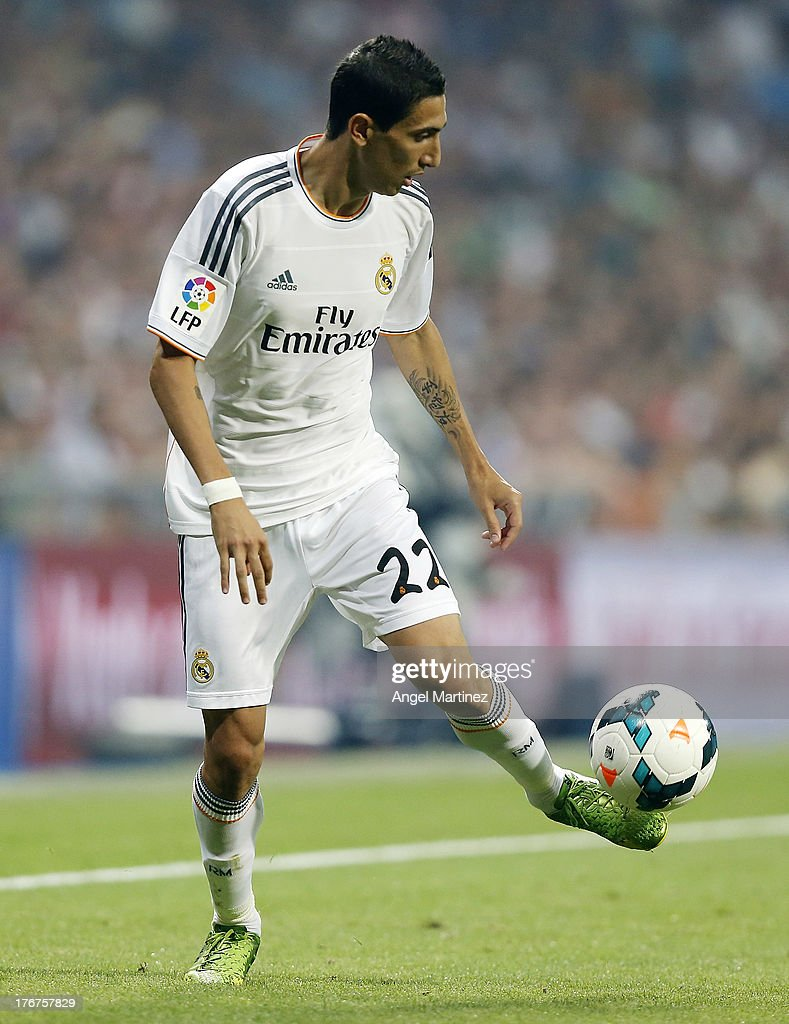 Angel di Maria of Real Madrid in action during the La Liga match between Real Madrid CF and Real Betis at Estadio Santiago Bernabeu on August 18, 2013 in Madrid, Spain.