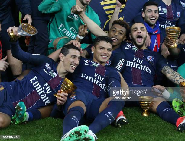Angel Di Maria Thiago Silva Presnel Kimpembe Layvin Kurzawa Javier Pastore of PSG celebrate the victory following the French League Cup final between...