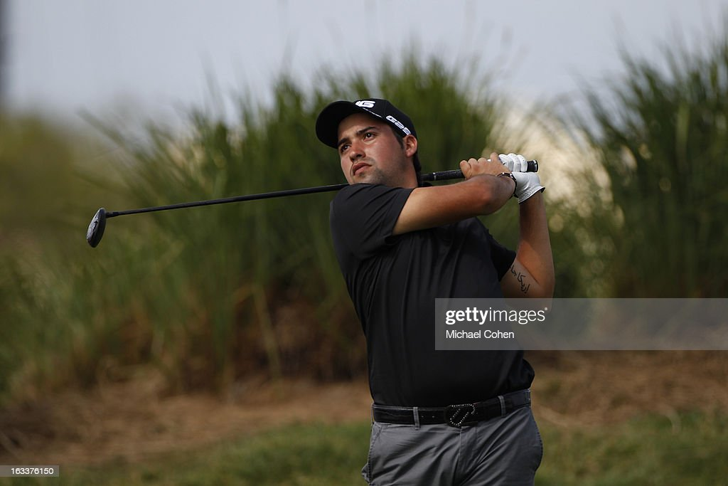 Angel F. Cabrera, Jr. of Argentina hits his drive on the 17th hole during the second round of the Puerto Rico Open presented by seepuertorico.com held at Trump International Golf Club on March 8, 2013 in Rio Grande, Puerto Rico.