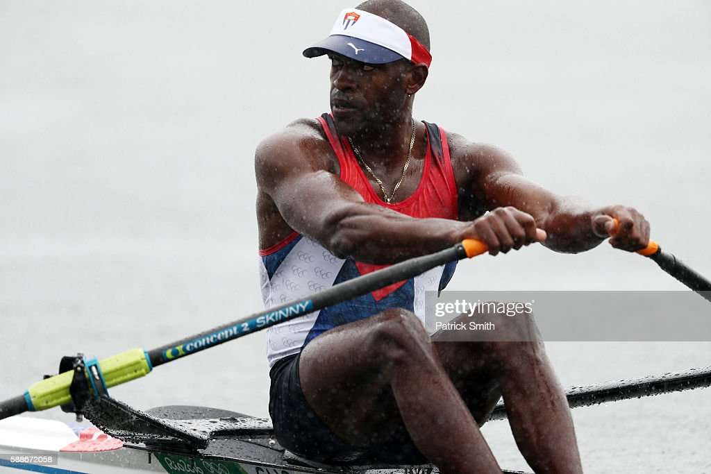 Angel Fournier Rodriguez of Cuba competes in the during the Men's Single Sculls Semifinal A/B 1 on Day 7 of the Rio 2016 Olympic Games at Lagoa...