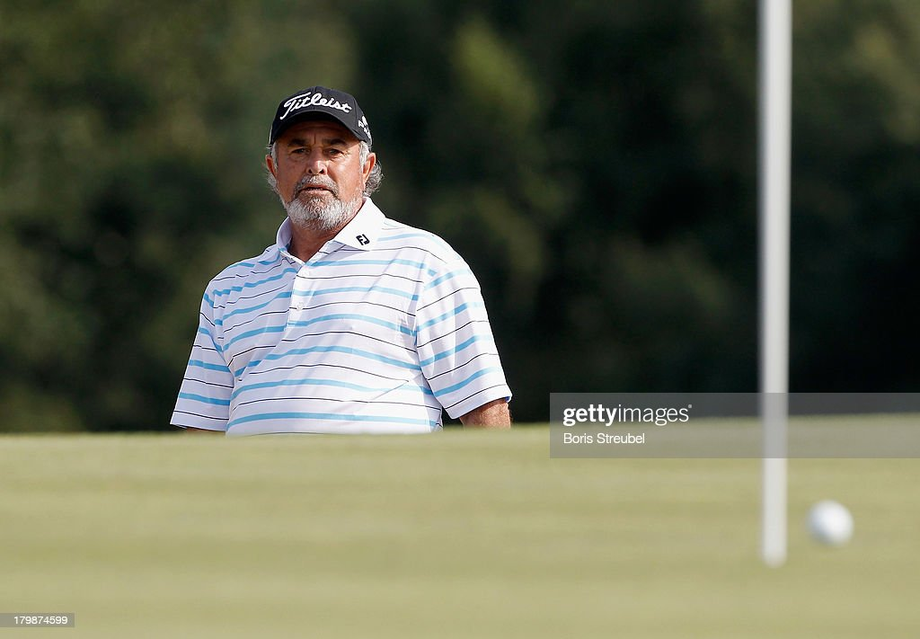 <a gi-track='captionPersonalityLinkClicked' href=/galleries/search?phrase=Angel+Franco&family=editorial&specificpeople=3570611 ng-click='$event.stopPropagation()'>Angel Franco</a> of Paraguay hits from a bunker during the second round on day two of the WINSTONgolf Senior Open played at WINSTONgolf on September 7, 2013 in Schwerin, Germany.