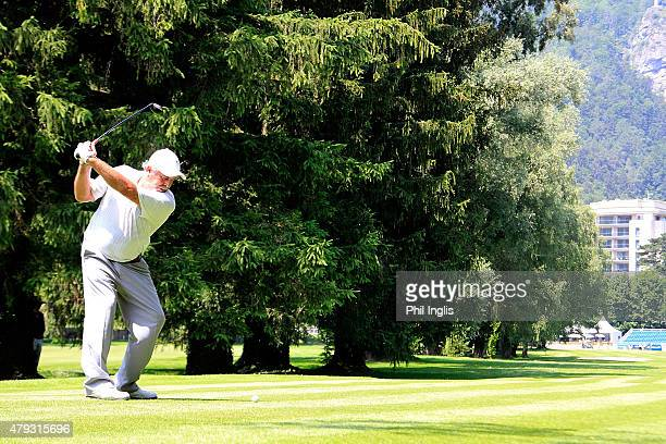 Angel Franco of Paraguay in action during the first round of the Swiss Seniors Open played at Golf Club Bad Ragaz on July 3 2015 in Bad Ragaz...