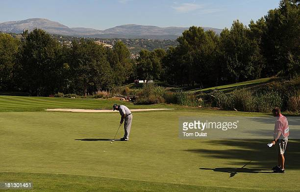 Angel Franco of Paraguay makes a putt on the 2nd green during the first round of the French Riviera Masters played over the Chateau Course Terre...