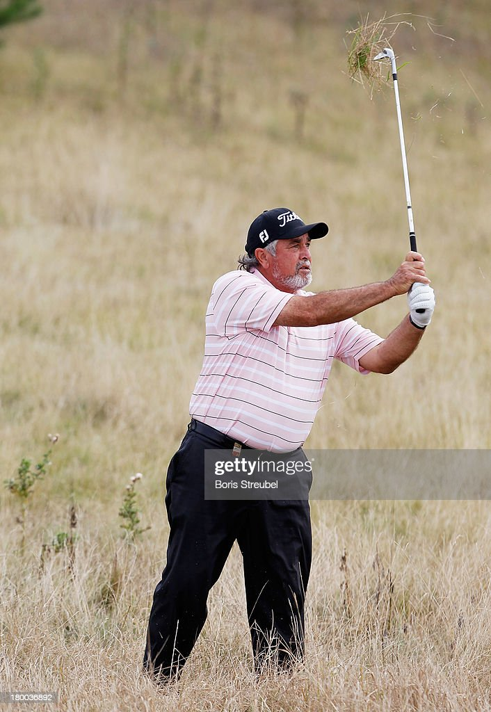 Angel Franco of Paraguay plays from the rough during the final round on day three of the WINSTONgolf Senior Open played at WINSTONgolf on September 8, 2013 in Schwerin, Germany.