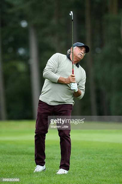 Angel Franco of Paraguay plays his second shot into the second green during the final round of the Travis Perkins Masters played on the Duke's Course...