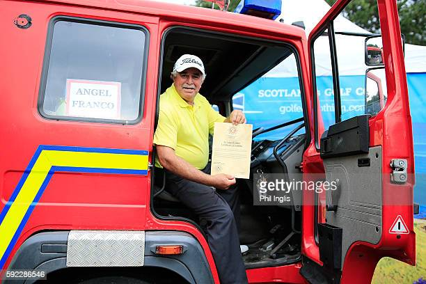 Angel Franco of Paraguay sits in a fire engine named after him which will be delivered to his home country by the International Fire and Rescue...