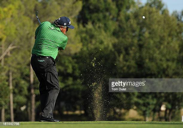 Angel Franco of Paraguay takes a shot from the 17th fairway during the second round of the French Riviera Masters played over the Chateau Course...