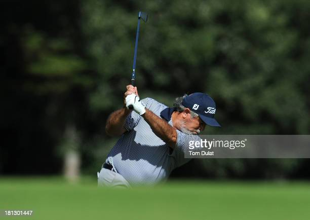 Angel Franco of Paraguay takes a shot from the 3rd fairway during the first round of the French Riviera Masters played over the Chateau Course Terre...