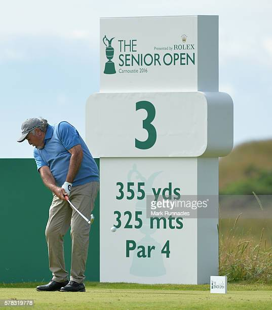 Angel Franco of Paraguay tee shot at the 3rd during the first day of The Senior Open Championship at Carnoustie Golf Club on July 21 2016 in...