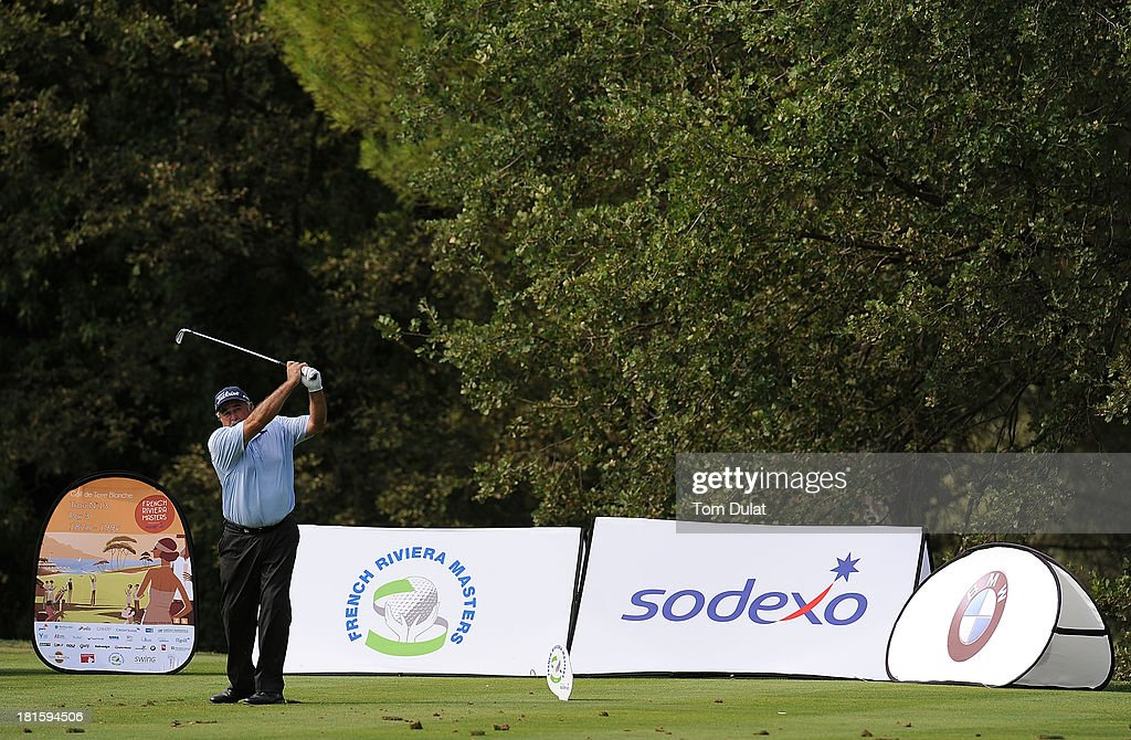 <a gi-track='captionPersonalityLinkClicked' href=/galleries/search?phrase=Angel+Franco&family=editorial&specificpeople=3570611 ng-click='$event.stopPropagation()'>Angel Franco</a> of Paraguay tees off during the final round of the French Riviera Masters played over the Chateau Course, Terre Blanche Resort on September 22, 2013 in Provencheres-sur-Fave, France.