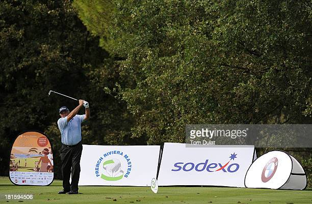 Angel Franco of Paraguay tees off during the final round of the French Riviera Masters played over the Chateau Course Terre Blanche Resort on...