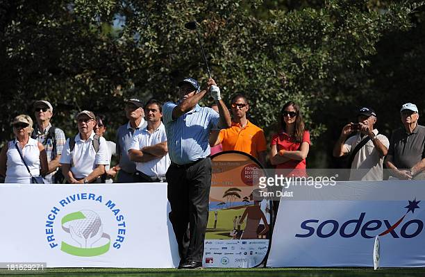 Angel Franco of Paraguay tees off from the 1st hole during the final round of the French Riviera Masters played over the Chateau Course Terre Blanche...