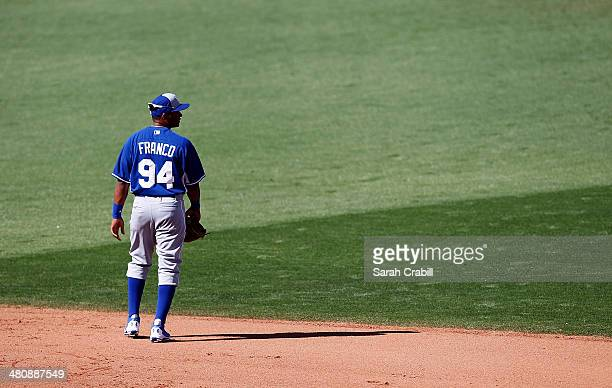 Angel Franco of the Kansas City Royals looks on during a game against the Cincinnati Reds at Goodyear Ballpark on March 21 2014 in Goodyear Arizona