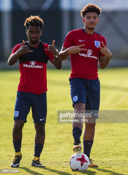 Angel Gomes and Jadon Sancho of England pose for photographer during a training session ahead of the FIFA U17 World Cup India 2017 tournament at...