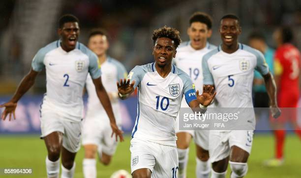 Angel Gomes of England celebrates his goal during the FIFA U17 World Cup India 2017 group F match between Chile and England at Vivekananda Yuba...