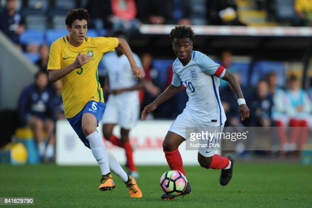Angel Gomes of England in action during the international friendly match between England U18 and Brazil U18 on September 1 2017 in Shrewsbury England