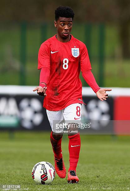 Angel Gomes of England in action during the U16s International Friendly match between England U16 and Italy U16 at St Georges Park on February 21...