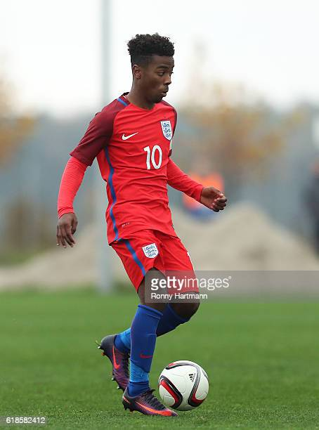 Angel Gomes of England runs with the ball during the UEFA Under17 EURO Qualifier between U17 England and U17 Romania at Football Centre FRF on...
