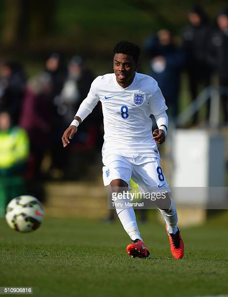 Angel Gomes of England U16 during the U16s International Friendly match between England U16 and Norway U16 at St Georges Park on February 16 2016 in...