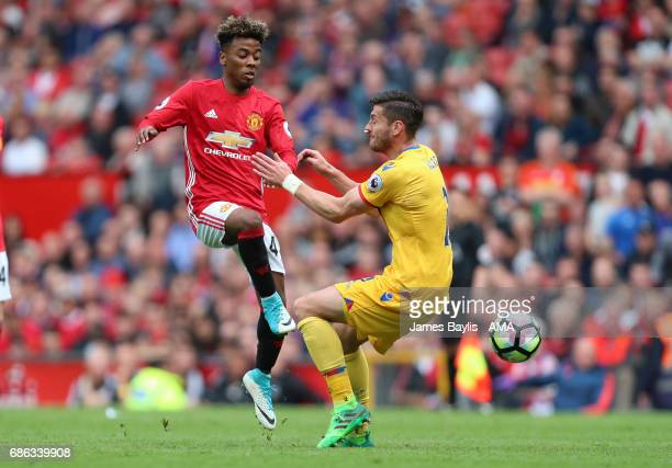 Angel Gomes of Manchester United and Joel Ward of Crystal Palace during the Premier League match between Manchester United and Crystal Palace at Old...