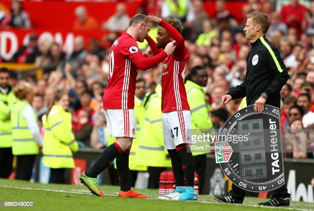 Angel Gomes of Manchester United comes on for Wayne Rooney of Manchester United during the Premier League match between Manchester United and Crystal...