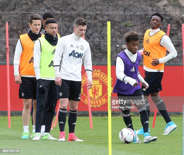 Angel Gomes of Manchester United in action during a first team training session at Aon Training Complex on May 19 2017 in Manchester England